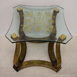 Reverse gilded and stenciled glass with Royal Stencil Size