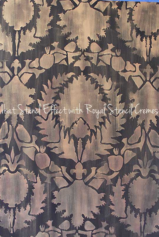 Silk Road Suzani Exotic Wall Stencils for Painting Ikat Pattern Accent Walls and Painted Floors - Royal Design Studio