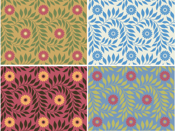 Decorate your Home with Indian Floral Wall Stencils for Colorful Swirl Flower Designs - Royal Design Studio