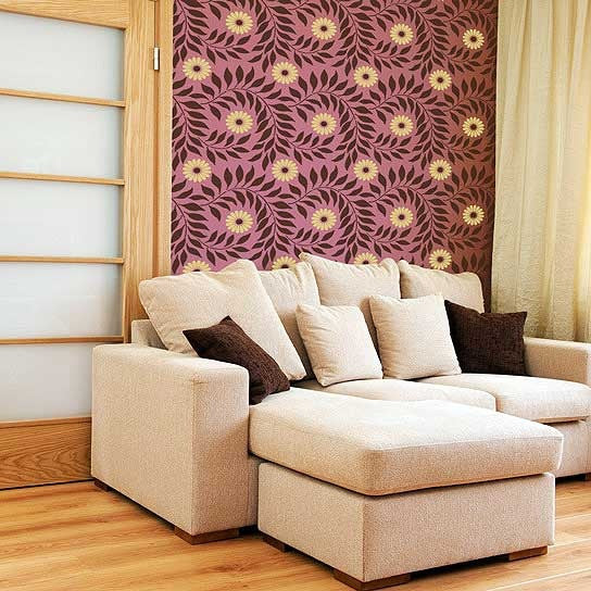 Decorate your Home with Colorful Indian Floral Wall Stencils for Swirl Flower Designs - Royal Design Studio