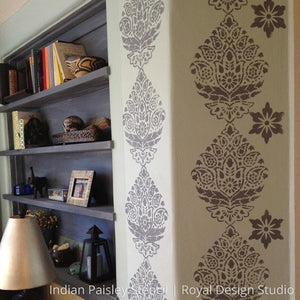 Painting Indian Designs on Walls - Paisley Damask Wall Stencils