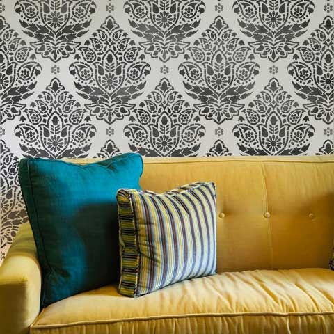 Damask Stencils Indian Paisley Wall Stencil Royal