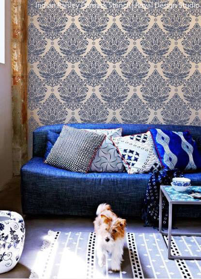 Wallpaper Designs For Living Room In India: Indian Paisley Wall Stencil