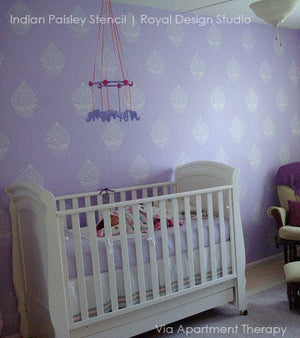 Indian Pasley Wall Allover Stencils in Trendy Purple Baby Nursery Decor by Royal Design Studio