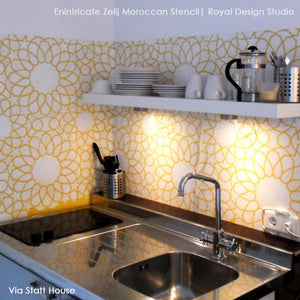 DIY Kitchen Backsplash with Colorful Paint and Exotic Stencil Patterns