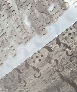 Damask Stencils Painted with Antique Finish - Trinita Damask Wall Stencils - Royal Design Studio