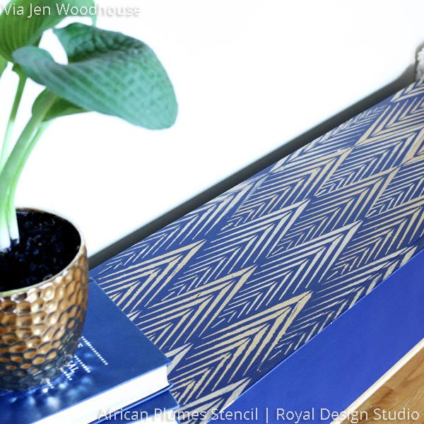 Cobalt Blue Painted and Stenciled Bench in Entry - African Plumes Furniture Stencils - Royal Design Studio