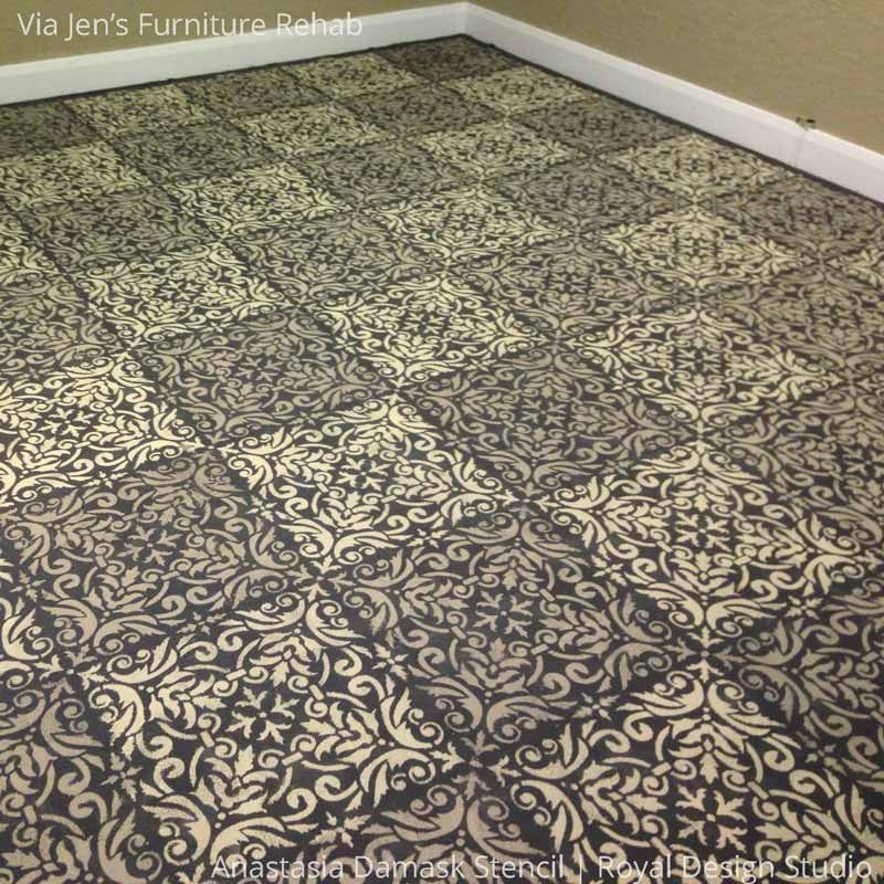 Faux Tile DIY Painted Floor using Anastasia Damask Tile Stencils - Royal Design Studio