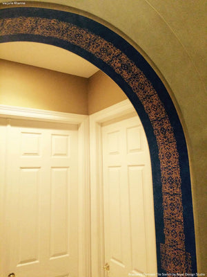 Faux Tile Border around Entry Ceiling using Anastasia Damask Tile Stencils - Royal Design Studio