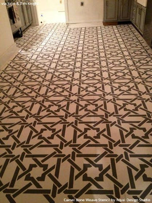 Stained Wood Floor with Camel Bone Weave Moroccan Stencils - Royal Design Studio