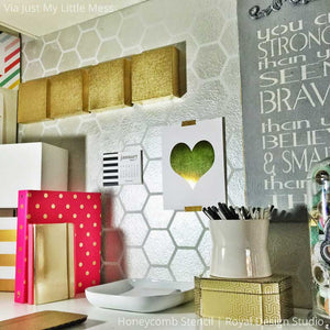Metallic Silver Modern Wall Decor - Honeycomb Pattern Wall Stencils - Royal Design Studio