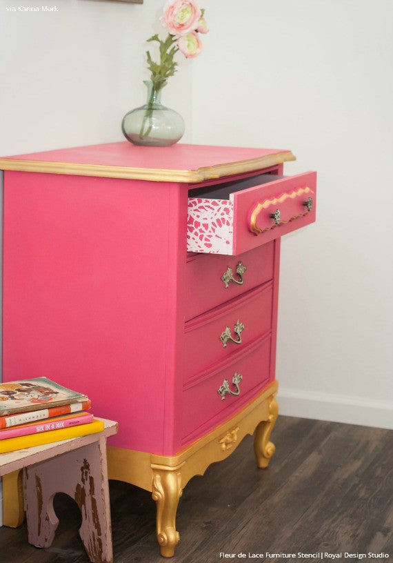 Bold and Colorful Pink and Gold Dresser Painted with Lace Flower Designs - Fleur de Lace Furniture Stencils - Royal Design Studio