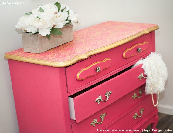 Genial ... Bold And Colorful Pink And Gold Dresser Painted With Lace Flower  Designs   Fleur De Lace ...