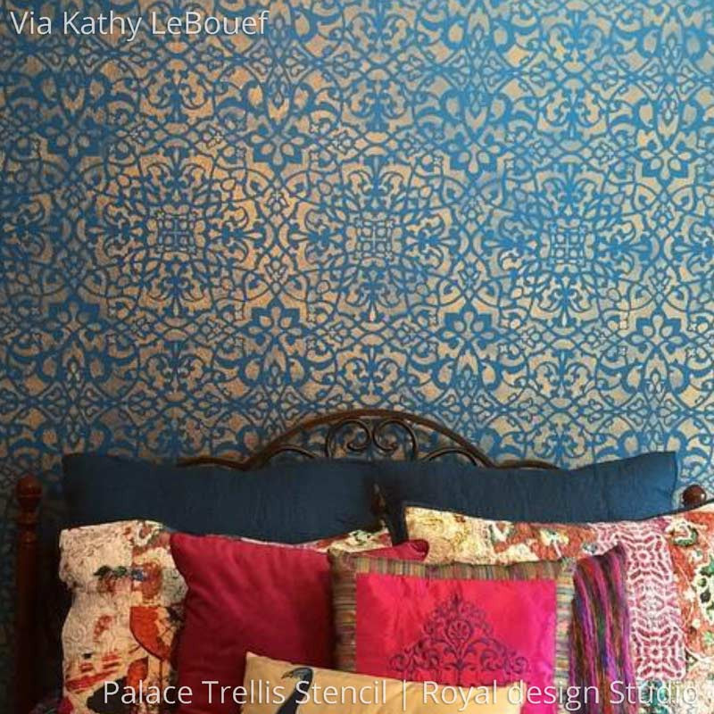 Beau ... Boho Glam Girls Room Decor And Accent Wall Painted With Palace Trellis Moroccan  Wall Stencils ...