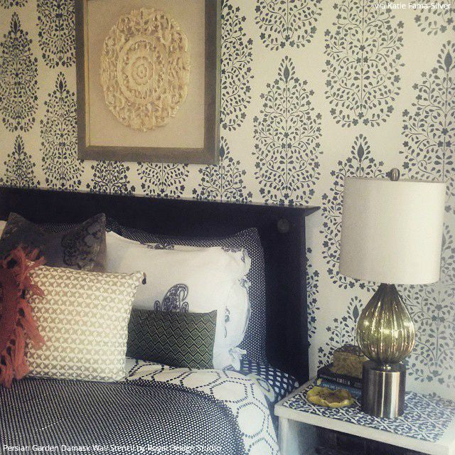 Trendy Vintage Inspired Bedroom Makeover with Blue Persian Garden Damask Wall Stencils - Royal Design Studio