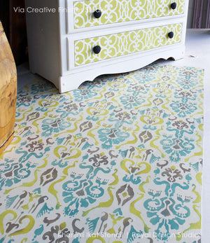 Turkish, Indian, Oriental, Indonesian Designs - Classic and Exotic Ikat Floor Stencils for Decorating - Royal Design Studio
