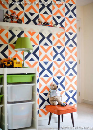 Decorating a Kids Room and Boys Room with Modern and Geometric Patterns Painted on Walls - Bold Accent Walls Stenciled with All the Angles Wall Stencils - Royal Design Studio