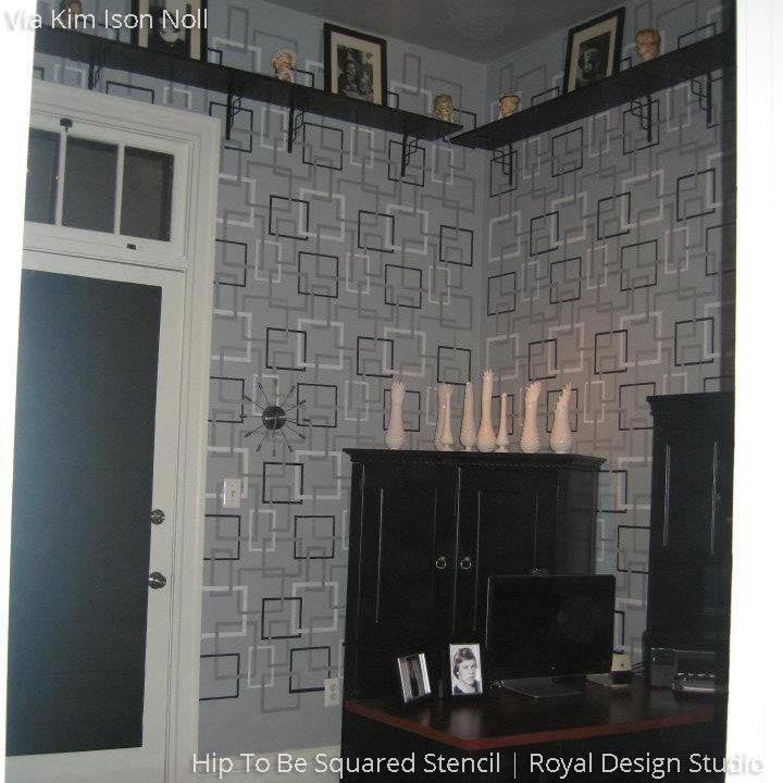 Modern or Retro Gray Wallpaper Look using Square Wall Stencils - Royal Design Studio