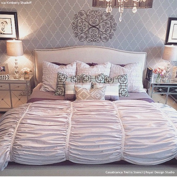 Elegant and Chic Bedroom Makeover Ideas - Casablanca Trellis Moroccan Wall Stencils for Painting - Royal Design Studio
