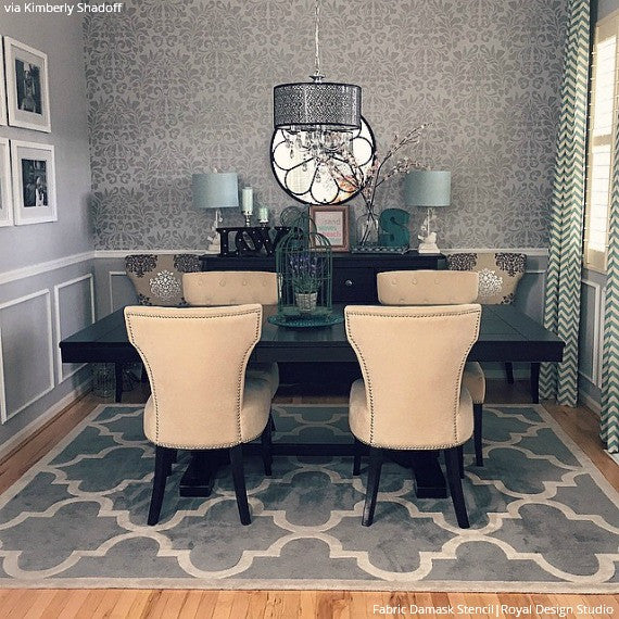 Large Fabric Damask Wall Stencils for Elegant and Chic Wallpaper Decor Look - Royal Design Studio