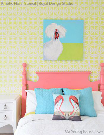 ... Modern And Geometric Patterns   Flower Wall Stencils For Painting And  DIY Decor   Royal Design ...