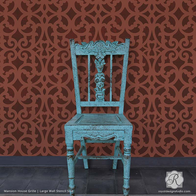 Large Designer Wall Stencils with DIY Faux Carved Wood Look - Mansion House Grille Trellis Wall Stencils - Royal Design Studio