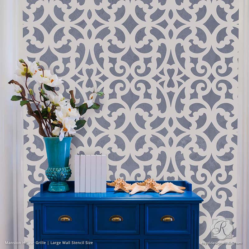 Painting Metal Trellis Patterns on Accent Wall   Mansion House Grille  Trellis Wall Stencils   Royal. Wall Stencils  Furniture Stencils  Wall Painting Stencils  DIY Stencil
