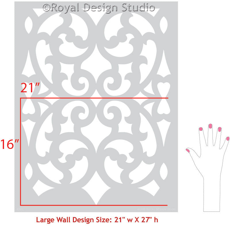 Stenciled Wall with Exotic Trellis Patterns and Colorful Paint - Mansion  House Grille Trellis Wall Stencils 4643a163b5