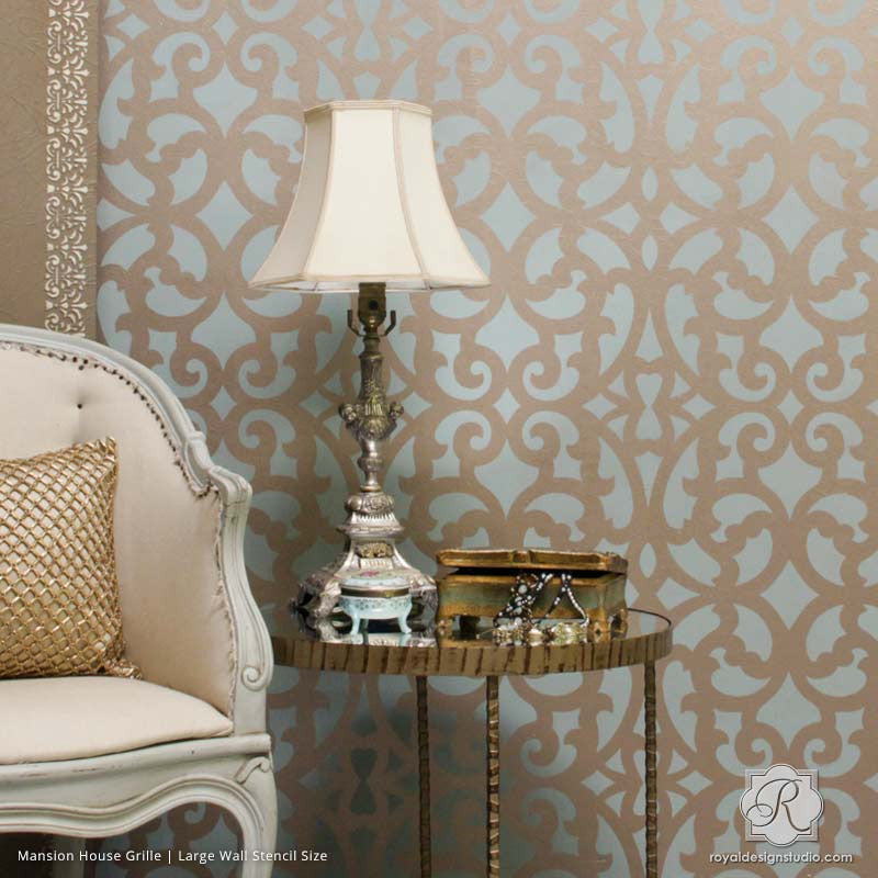 Elegant Metallic Pattern Painted on Chic Accent Wall for Wallpaper Look - Mansion House Grille Trellis Wall Stencils - Royal Design Studio