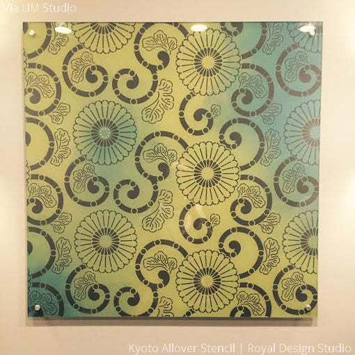 Colorful Wall Art with DIY Wall Stencils - Kyoto Allover Flower Patterns - Royal Design Studio