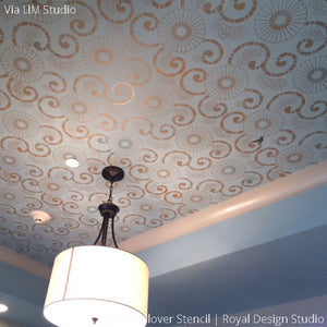 Blue Painted Ceiling Stencils for DIY Pattern Decor - Kyoto Allover Flower Asian Stencils