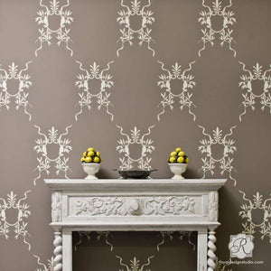 Italian Wall Art Stencils - Classic European Room Makeover Ideas - Royal Design Studio