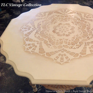Painted Furniture DIY Projects with Feminine Lace Patterns and Lace Stencils