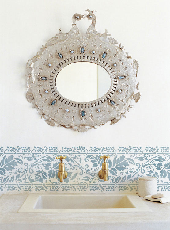 Painting a Border on a Wall - Leaves Brocade Border Stencil in Bathroom Makeover - Royal Design Studio Wall Stencils