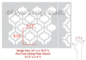 Decorate your home decor with stenciled walls with moroccan stencil patterns - Casbah Trellis Moroccan Wall Stencils - Royal Design Studio