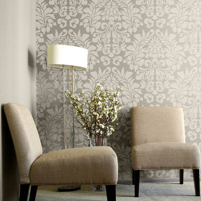 Fabric Damask Wall Stencil - Large Damask Wallpaper Stencil