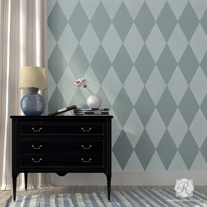 Retro or Modern Geometric Home Decor - Harlequin Wall Stencils for Kids Room