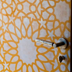 Colorful Stenciled and Painted Door DIY Project with Royal Design Studio Wall stencils