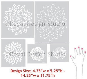 Japanese Flower Garden B Wall Stencils designs