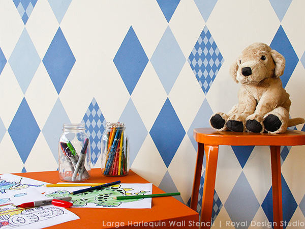 Cute Blue Boys Room and Nursery Decor and Painting with Harlequin Craft Stencils - Royal Design Studio