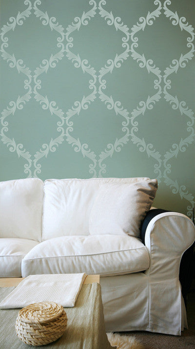 ... Acanthus Trellis Wall Stencils   Wall Painting Stencils With Damask  Wallpaper Pattern   Royal Design Studio ... Part 67