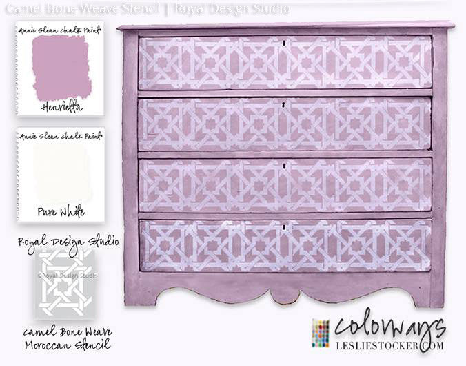 Chalk Paint Painted Dresser Drawers DIY Project Idea - Camel Bone Weave Moroccan Stencils - Royal Design Studio