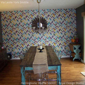 Colorful Dining Room Painted with Modern Herringbone Shuffle Wall Stencils - Royal Design Studio