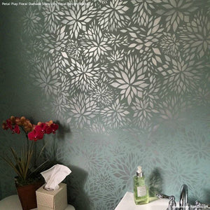 Metallic Silver and Blue Gray Accent Wall Decor - Petal Play Flower Damask Wall Stencils - Royal Design Studio
