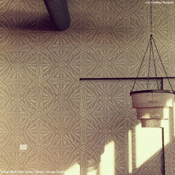 Neutral and African Decorating Made Easy and DIY - Tribal Batik Allover Wallpaper Wall Stencils - Royal Design Studio
