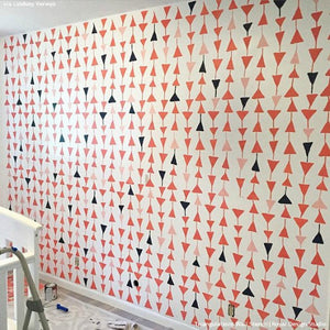 Colorful and Modern Accent Wall for Kids Room Decorating - Triangulations Wall Stencils - Royal Design Studio