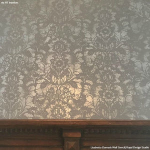 Large Designer Stencils Silver Metallic Wallpaper Decor - Royal Design Studio
