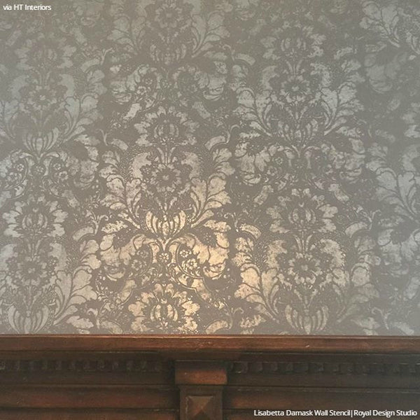 Large Floral Damask Wall Stencils Diy Wallpaper Look