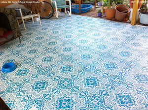Large Tile Wall Stencils for Decorating Painted Concrete Floor - Royal Design Studio