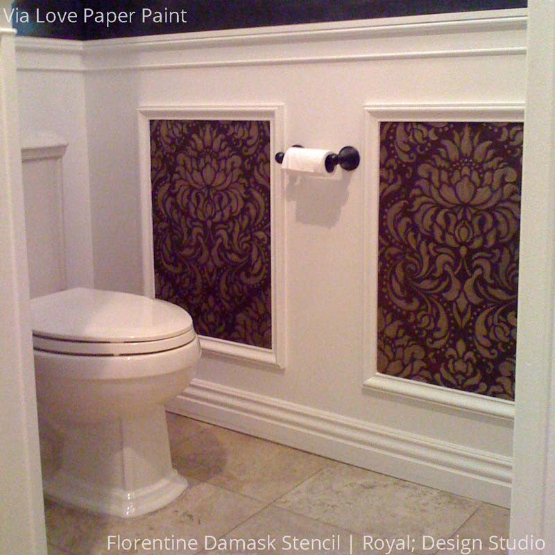 Stenciling Wall Art in Bathroom Decor - Florentine Damask Wall Stencils - Royal Design Studio
